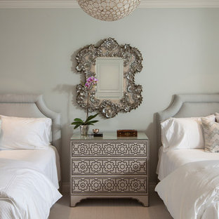 Example of a transitional white floor bedroom design in Houston with gray walls