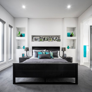 Inspiration for a contemporary bedroom in Sydney with white walls, carpet and grey floor.