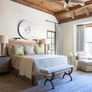 Idee per una camera matrimoniale stile rurale con pareti bianche