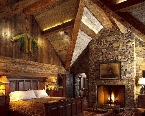 Wood And Stone Fireplace | Houzz