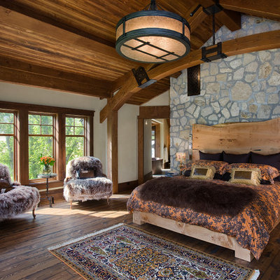 Mountain style dark wood floor bedroom photo in Other with white walls