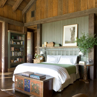 Mountain Style Master Dark Wood Floor Bedroom Photo In San Francisco With Green Walls