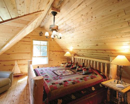 Log cabin bedroom houzz for Pictures of cabin bedrooms
