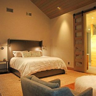 Ejemplo de dormitorio principal, actual, de tamaño medio, con paredes blancas, suelo de madera en tonos medios, chimenea tradicional y marco de chimenea de baldosas y/o azulejos