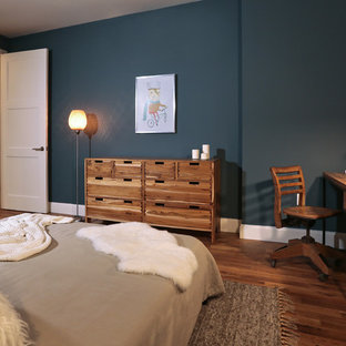 Inspiration for a mid-sized rustic master medium tone wood floor bedroom remodel in New York with blue walls