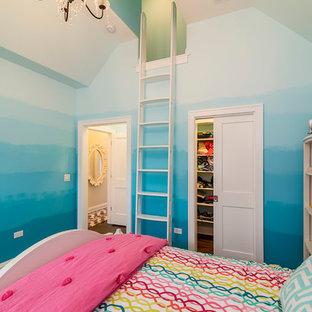 シカゴの中サイズのエクレクティックスタイルのおしゃれな寝室 (青い壁、無垢フローリング、暖炉なし) のレイアウト