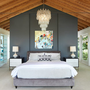 Example of a mountain style master carpeted and beige floor bedroom design with gray walls and no fireplace