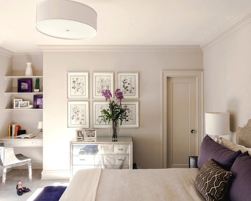 White and cream bedroom houzz for White and purple bedroom designs