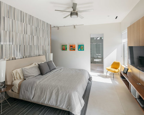 Inspiration For A Mid Sized 1960s Master Porcelain Floor And White Floor  Bedroom Remodel In