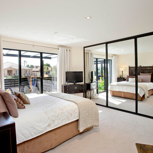 Example of a trendy bedroom design in Melbourne