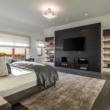 Sagaponack Estate Master bedroom Fire place