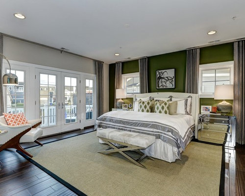 Master bedroom design ideas renovations photos with green walls Master bedroom with green walls