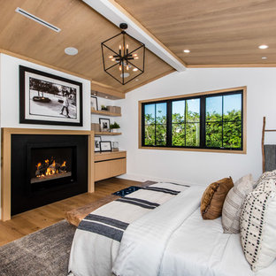 Example of a transitional medium tone wood floor and brown floor bedroom design in Los Angeles with white walls and a standard fireplace