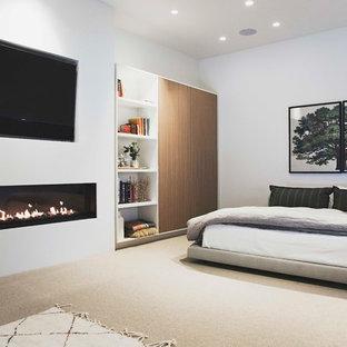 На фото: большая хозяйская спальня в стиле модернизм с белыми стенами, ковровым покрытием, горизонтальным камином, фасадом камина из штукатурки и серым полом с