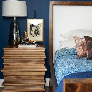 サンフランシスコの中サイズのエクレクティックスタイルのおしゃれな寝室 (青い壁、無垢フローリング、茶色い床) のレイアウト