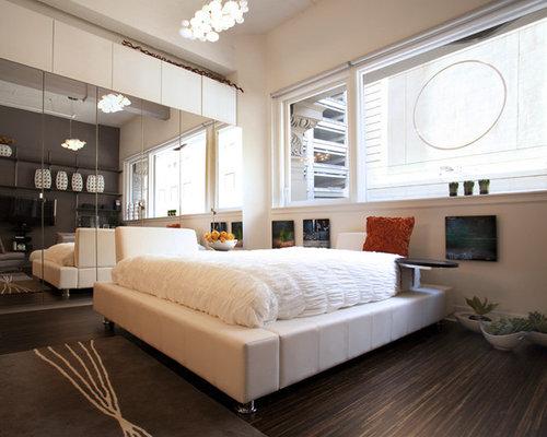 bedroom nightstand ideas. Modern dark wood floor bedroom idea in San Francisco Floating Nightstand Ideas  Houzz
