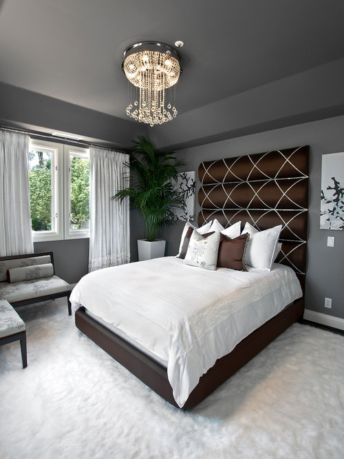 Inspiration For A Transitional Carpeted Bedroom Remodel In Orange County  With Gray Walls