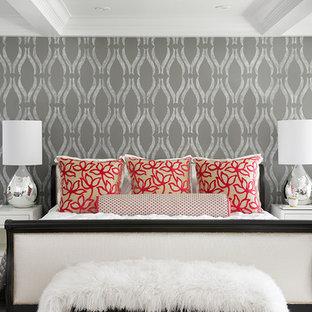 """""""phillip jeffries wallpaper"""". Trendy dark wood floor bedroom photo in San Francisco with gray walls"""