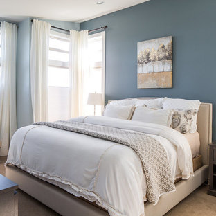 Transitional master bedroom photo in Seattle with blue walls
