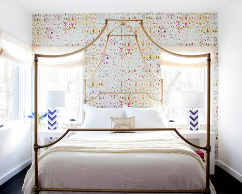 Transitional Bedroom Photo In New York With Multicolored Walls