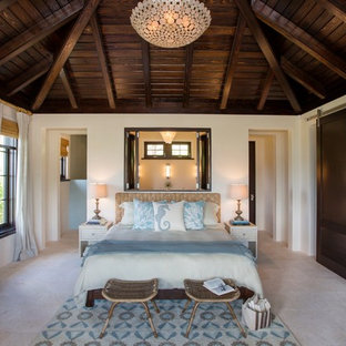 Modelo de dormitorio principal, exótico, sin chimenea, con paredes beige y moqueta