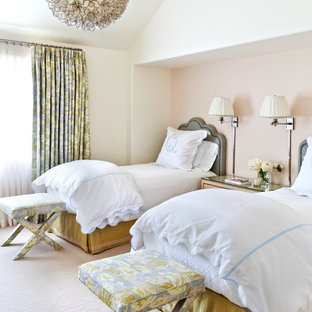 Example of a trendy guest carpeted bedroom design in Santa Barbara with beige walls