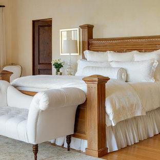 Design ideas for a mediterranean bedroom in Santa Barbara with beige walls.