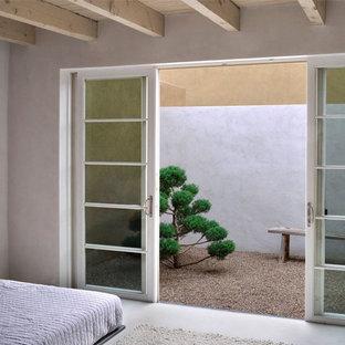 Ejemplo de dormitorio principal, minimalista, de tamaño medio, con paredes grises y suelo de cemento
