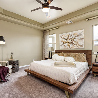 Inspiration for a contemporary guest carpeted and gray floor bedroom remodel in Other with beige walls and no fireplace