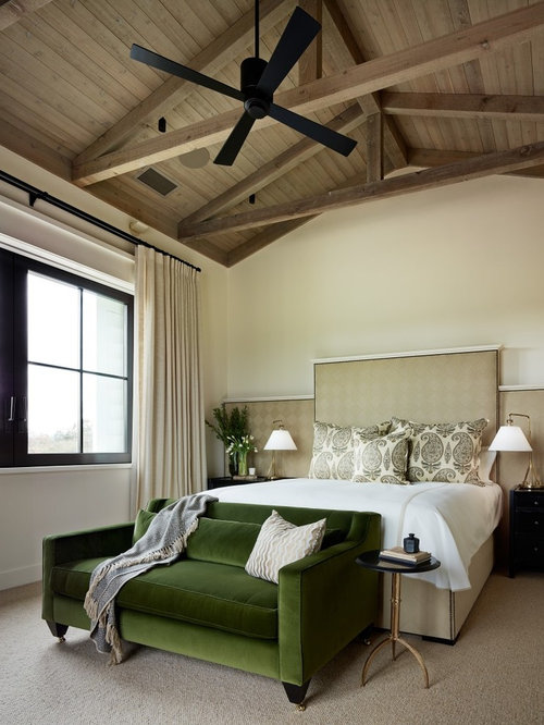 Example of a transitional carpeted bedroom design in San Francisco with  white walls