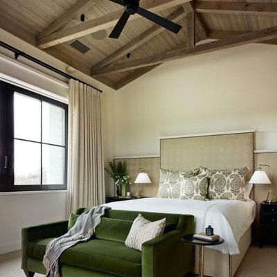 Example of a transitional carpeted bedroom design in San Francisco with white walls and no fireplace