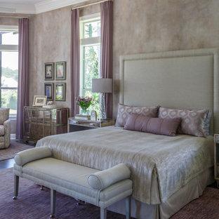 Idéer för att renovera ett vintage huvudsovrum, med klinkergolv i keramik och lila golv