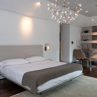 Inspiration för stora moderna huvudsovrum, med grå väggar, mörkt trägolv, en standard öppen spis och en spiselkrans i sten