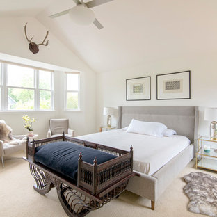 Superieur Example Of A Danish Master Carpeted And Beige Floor Bedroom Design In  Denver With White Walls