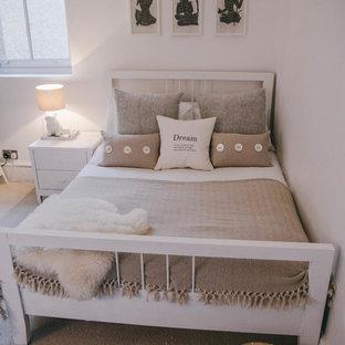 Diseño de dormitorio principal, nórdico, pequeño, con paredes grises y moqueta