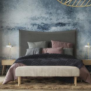 Ejemplo de dormitorio principal, nórdico, extra grande, con paredes blancas, suelo de bambú y suelo beige