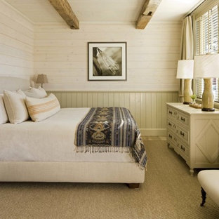 Mountain style bedroom photo in Denver with beige walls