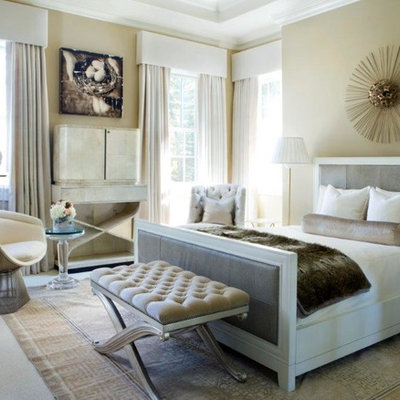 Example of a large transitional master carpeted and beige floor bedroom design in Chicago with beige walls