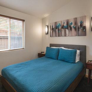 Foto de dormitorio minimalista con suelo de cemento y suelo multicolor