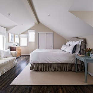 Inspiration for a contemporary master dark wood floor bedroom remodel in San Francisco with beige walls