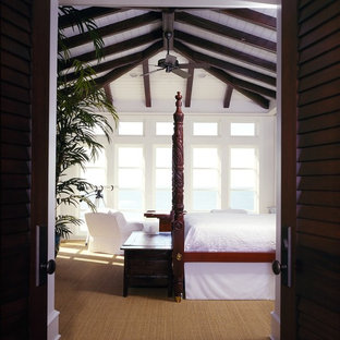 Island style carpeted bedroom photo in Atlanta