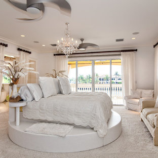 Bedroom - transitional carpeted bedroom idea in Miami
