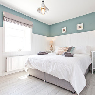 Duck Egg Blue Clear All Inspiration For A Medium Sized Coastal Bedroom In Dorset With Green Walls And Grey Floors