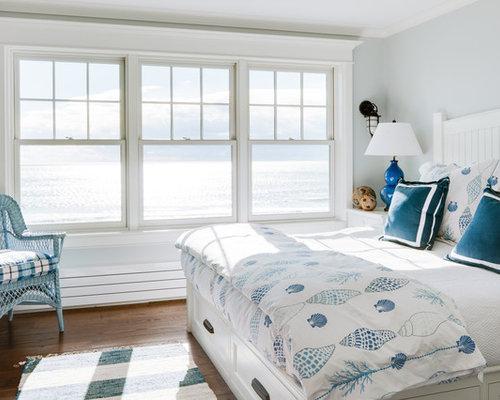 Example Of A Coastal Bedroom Design In Portland Maine With Gray Walls, Dark  Wood Floors Part 48
