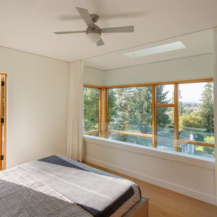 Design ideas for a mid-sized modern loft-style bedroom in San Francisco with white walls, light hardwood floors and beige floor.