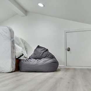 Inspiration for a large contemporary loft-style bedroom in San Francisco with white walls, laminate floors and grey floor.