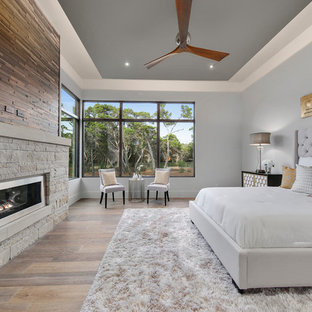 Example of a large transitional master light wood floor and brown floor bedroom design in Austin with gray walls, a ribbon fireplace and a stone fireplace