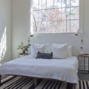 Bedroom   Mid Sized Scandinavian Loft Style Concrete Floor Bedroom Idea In  Atlanta With