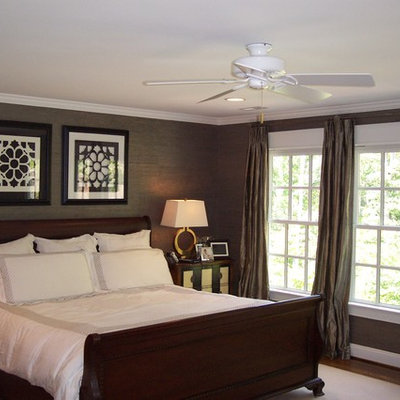 Elegant bedroom photo in Richmond with gray walls