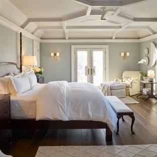 Inspiration för stora klassiska huvudsovrum, med blå väggar, mellanmörkt trägolv och brunt golv